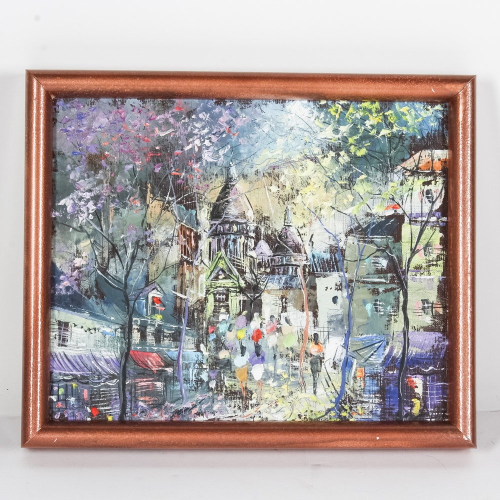Original Signed Oil Painting of Paris Streetscape
