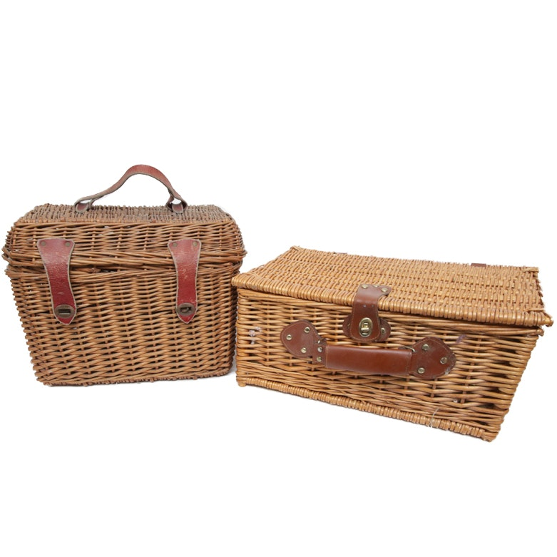 Pair of Wicker Picnic Baskets