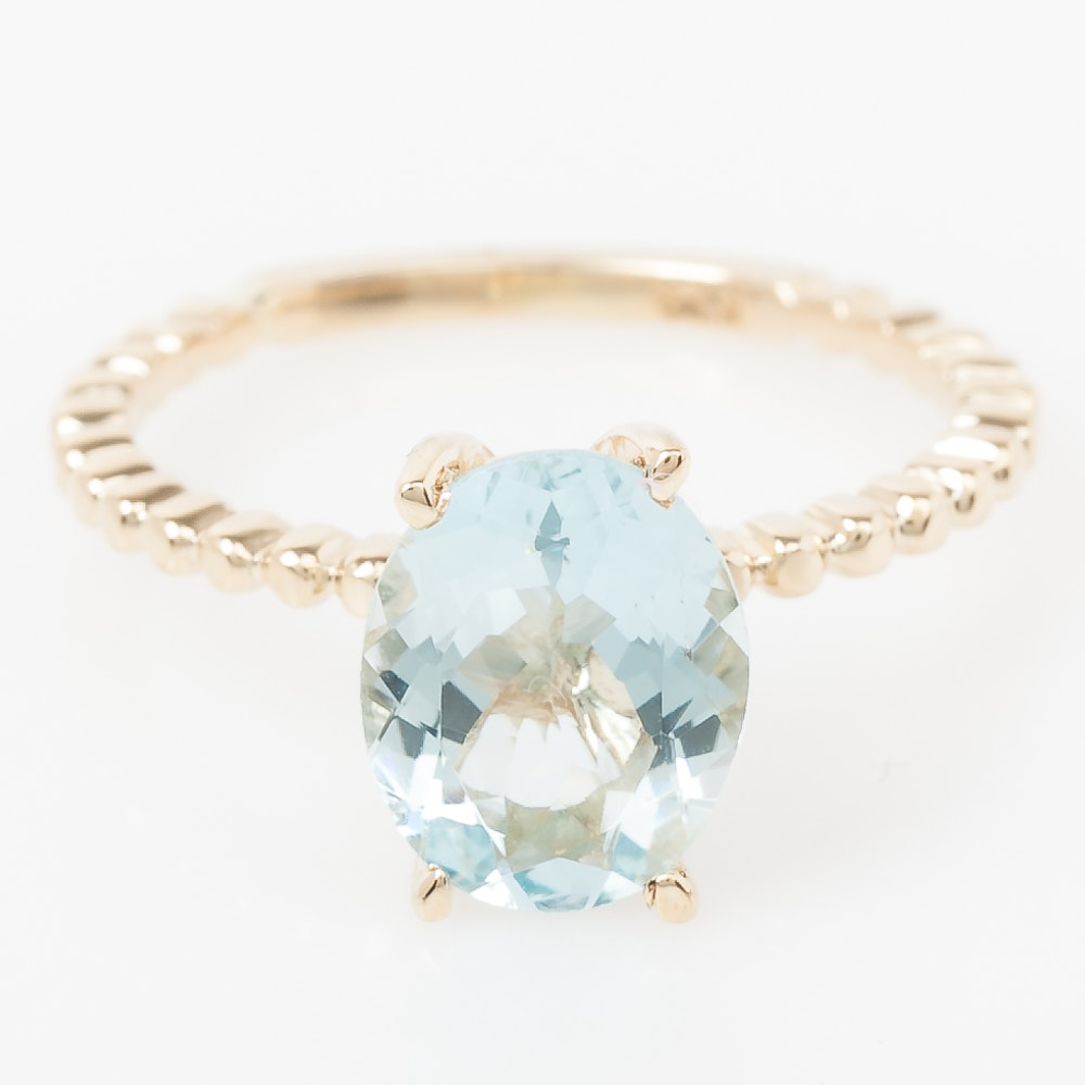 14K Yellow Gold and Aquamarine Solitaire Ring