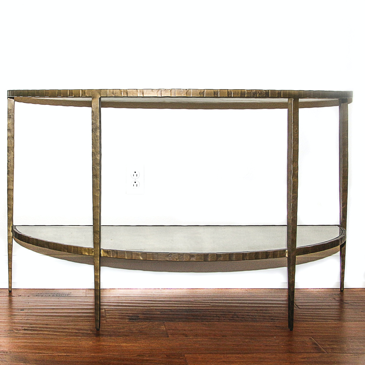 Glass Top Iron Curved Side Table ...