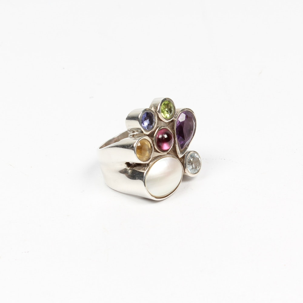 Contemporary Sterling Silver Multi-Stone Ring