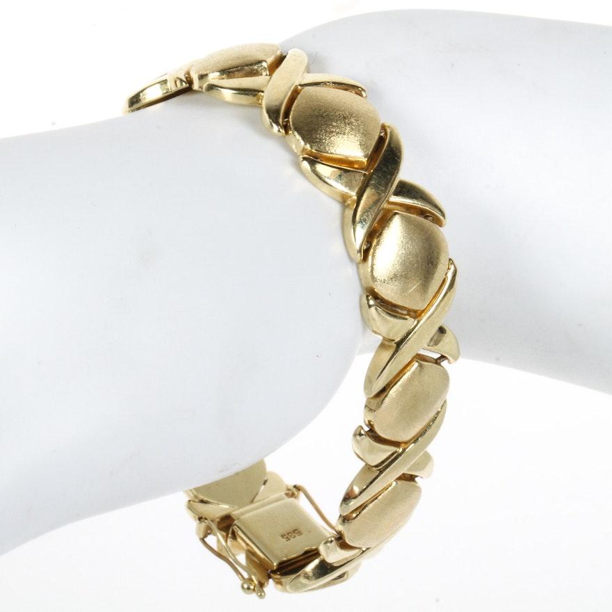 Italian 14k Yellow Gold X And O Bracelet