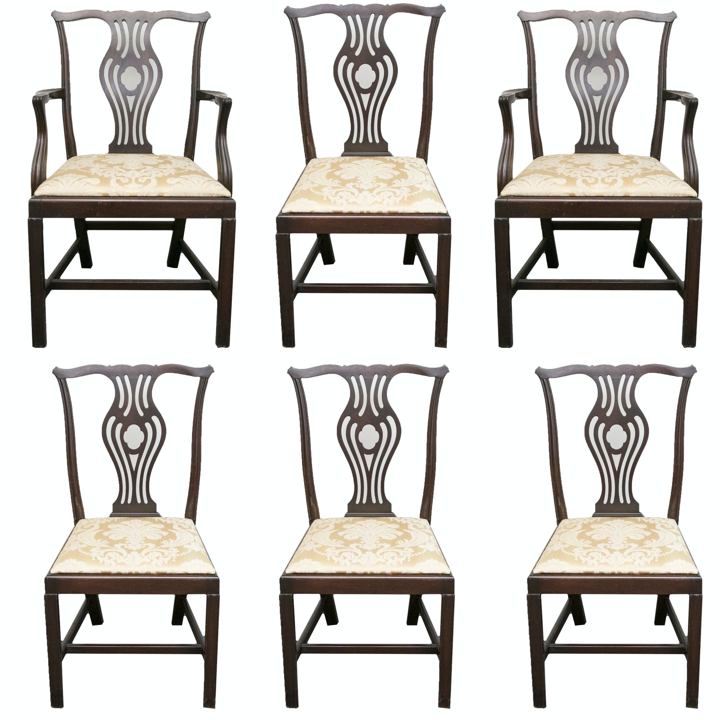 20th Century Chippendale Style Mahogany Dining Chairs