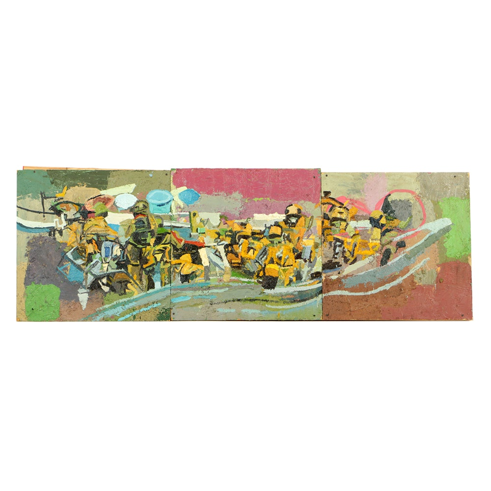 """Clintel Steed Oil Painting on Panels """"Marines on a Boat"""""""