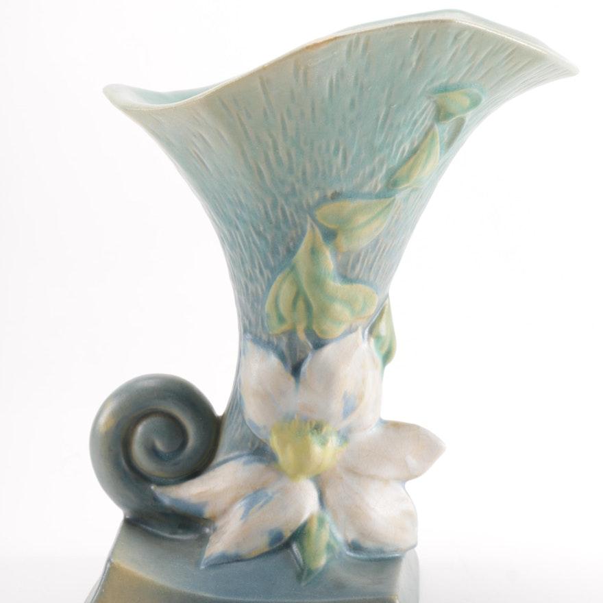 Roseville Clematis Blue Cornucopia Vase Ebth