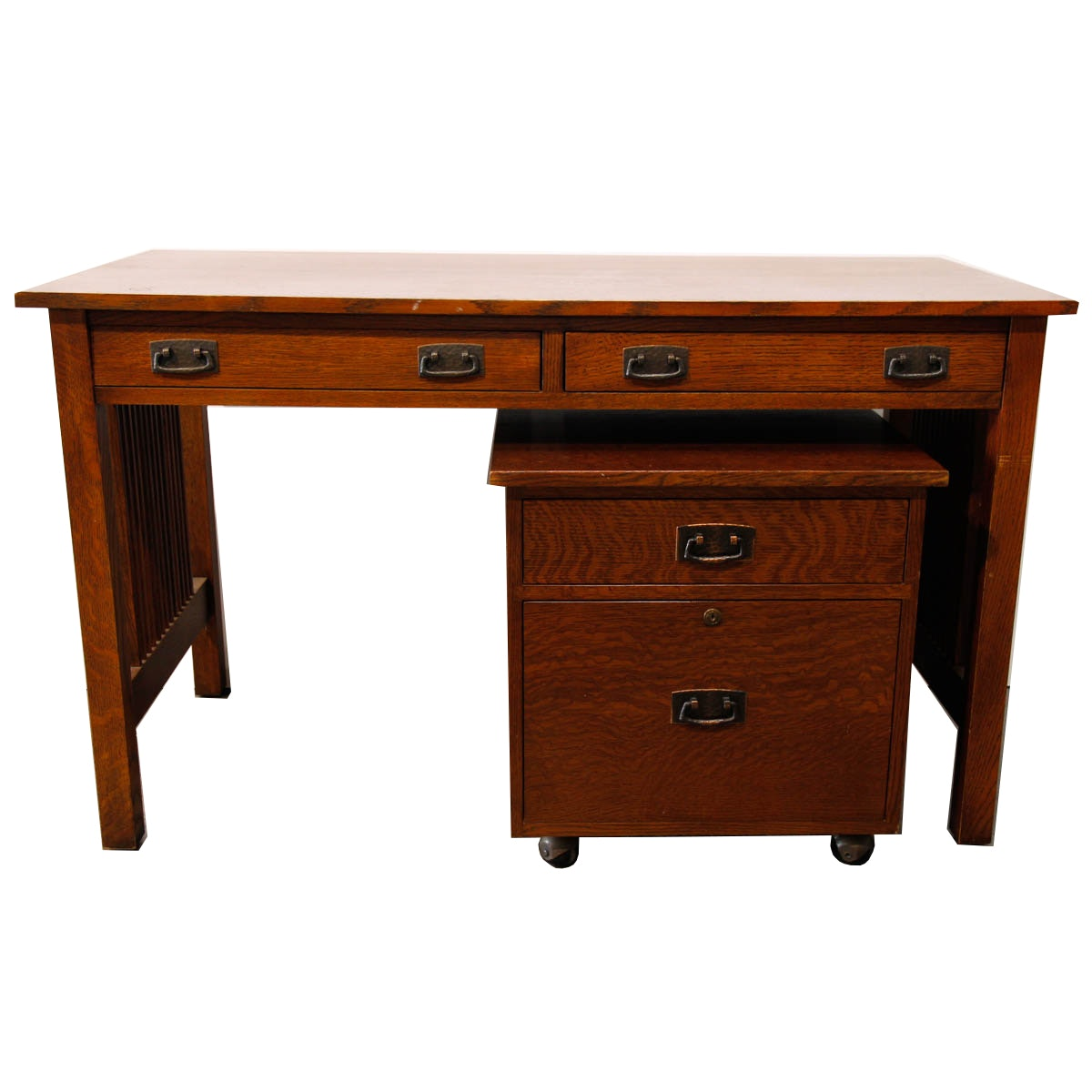 Contemporary Mission Style Desk And File Cabinet By Stickley ...
