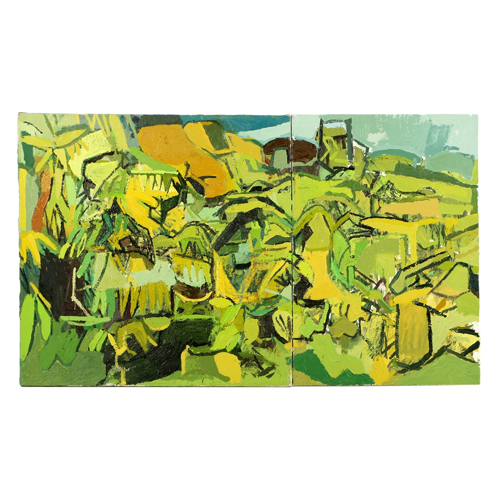 """Clintel Steed Oil Painting on Canvas """"View of P.R."""""""