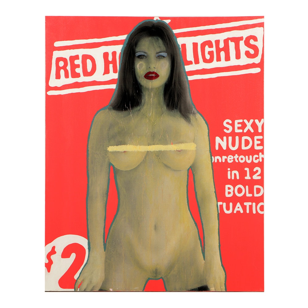 "Justin Fontaine Maury Mixed Media on Canvas ""Red Hot Lights"""