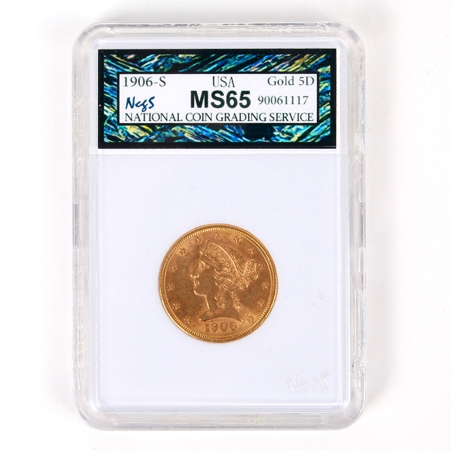 NCGS MS65 Graded 1906-S Coronet Head Gold Five Dollar Coin with Motto