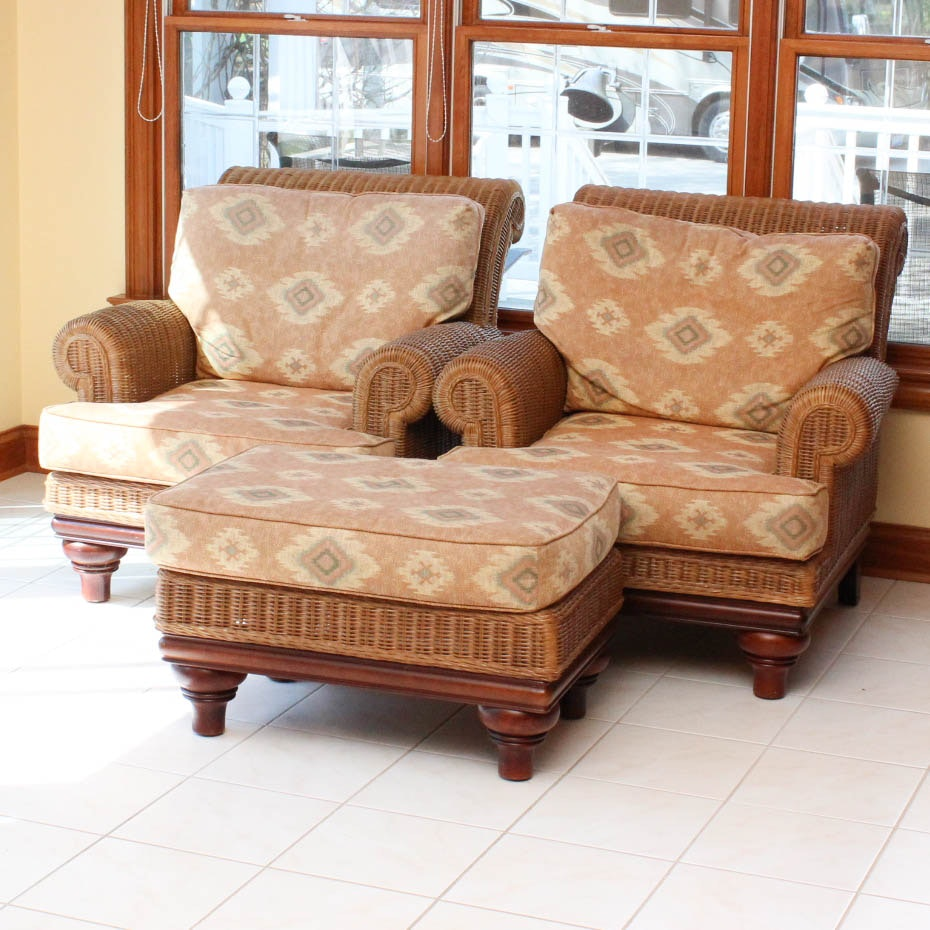 Beautiful Lexington Casual Rattan Arm Chairs With Upholstered Seats ...