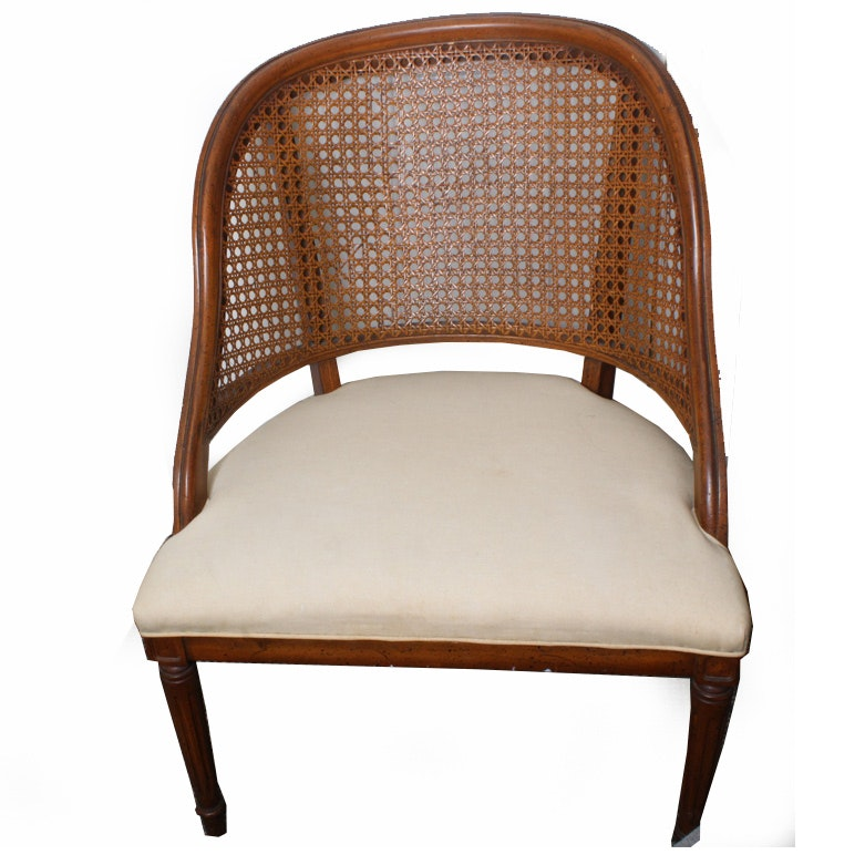 Vintage Cane Barrel Chair ...