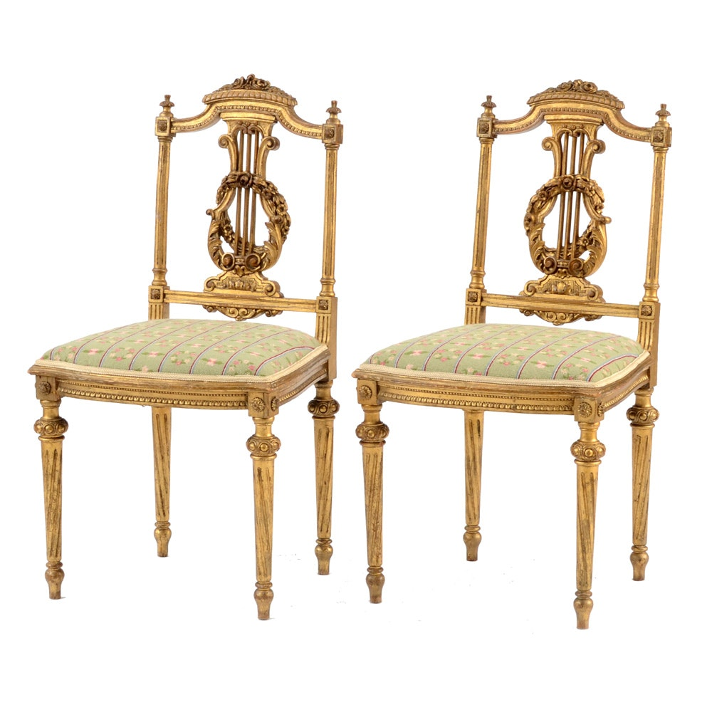 Charmant Antique Louis XVI Style Giltwood Salon Chairs ...