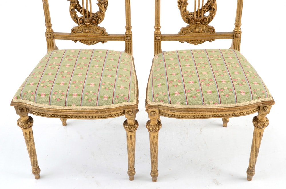 antique louis xvi style giltwood salon chairs ebth. Black Bedroom Furniture Sets. Home Design Ideas