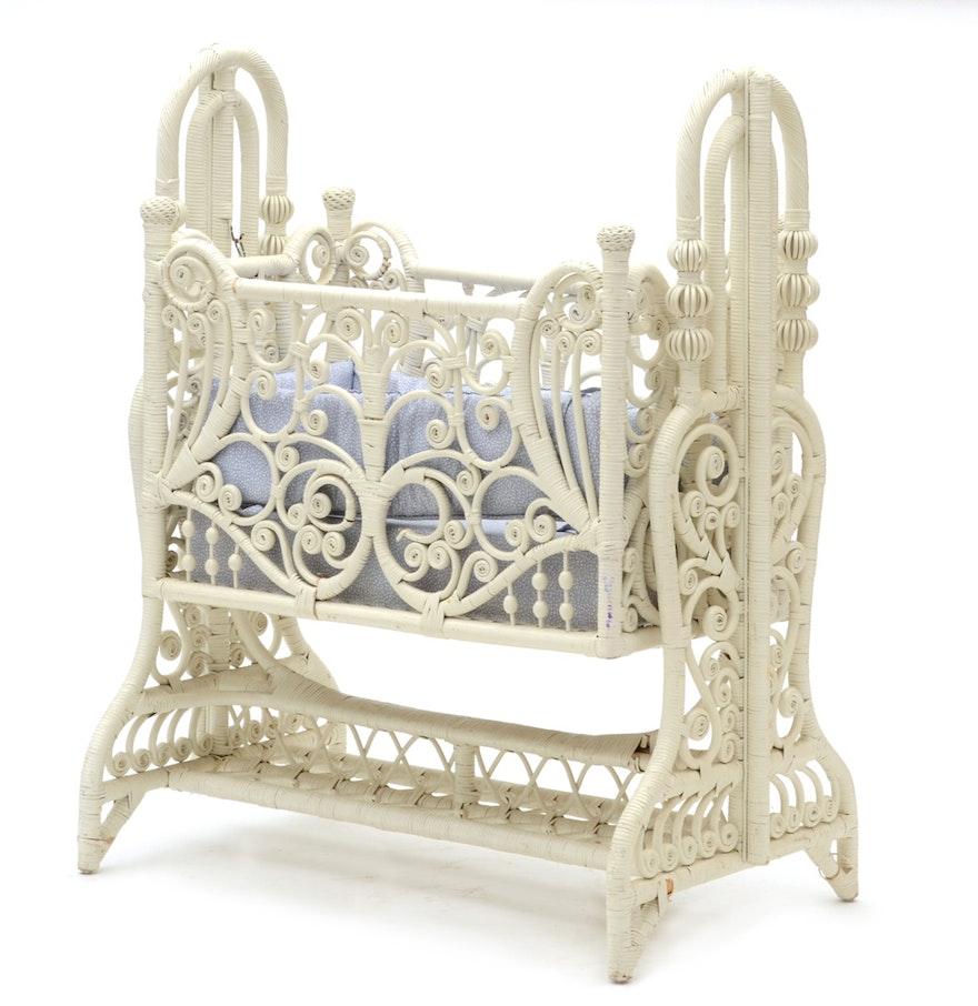 Baby cribs columbus ohio - Vintage Victorian Style Wicker Crib