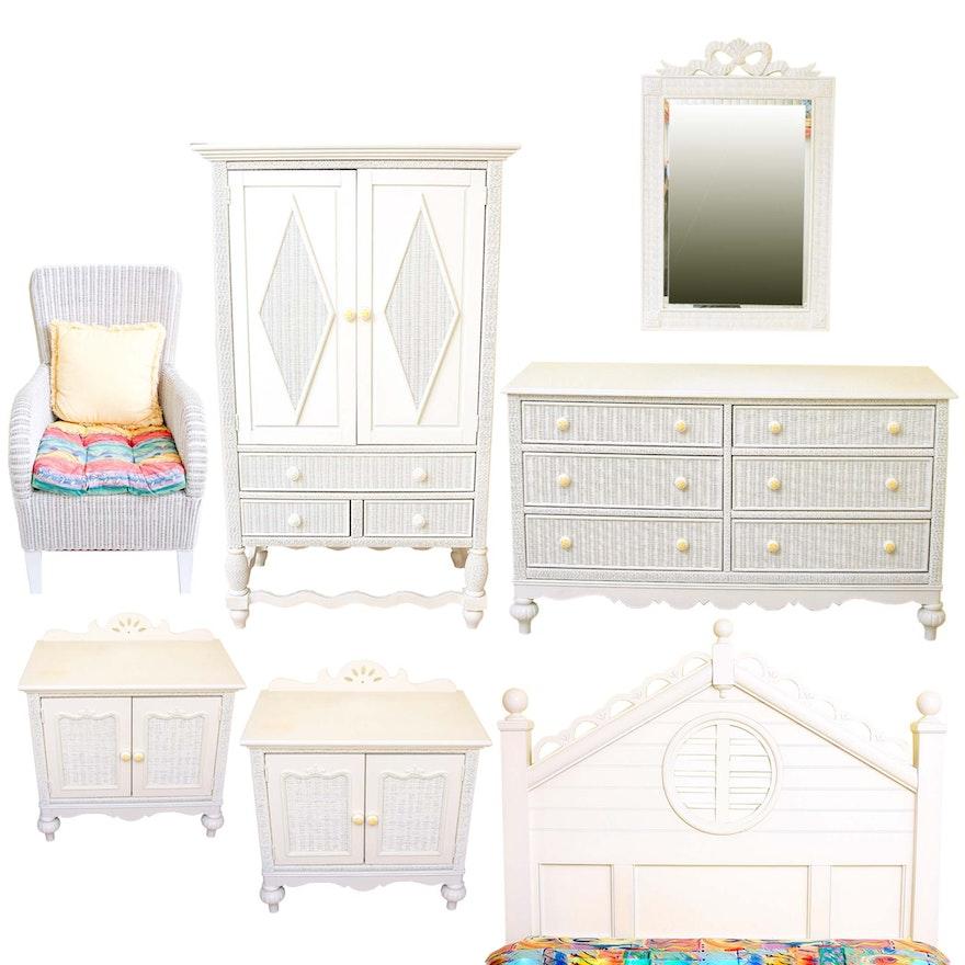 Lexington Furniture Bedroom Sets: Lexington Furniture White Wicker And Wooden Bedroom Set : EBTH