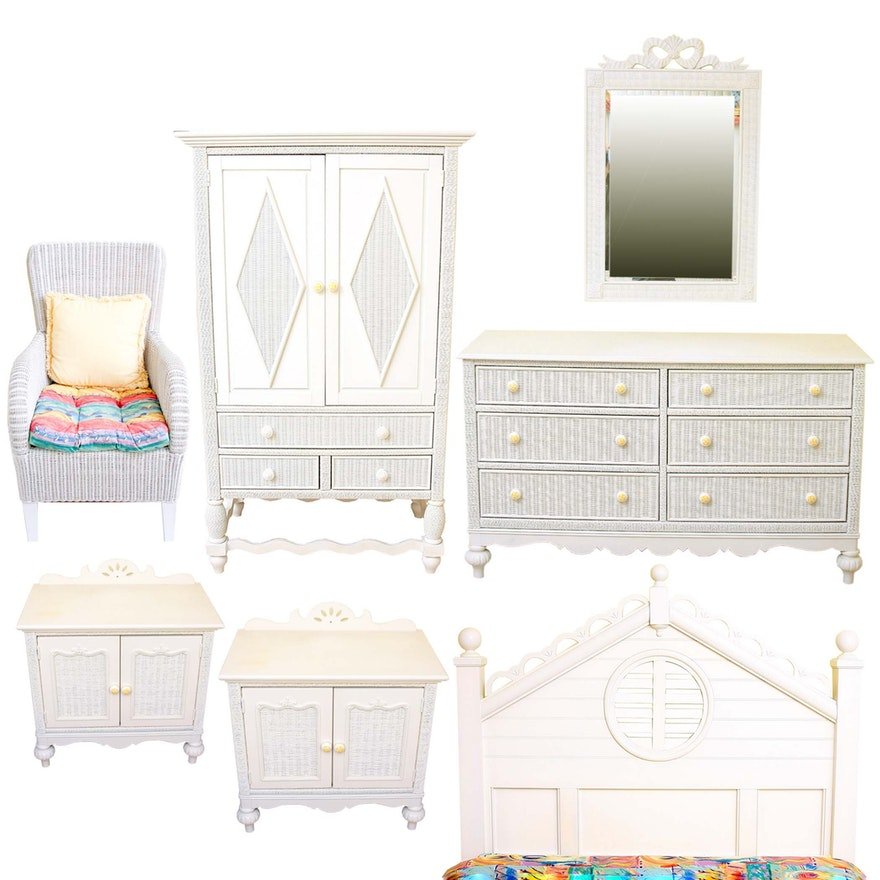 Lexington Furniture White Wicker And Wooden Bedroom Set Ebth