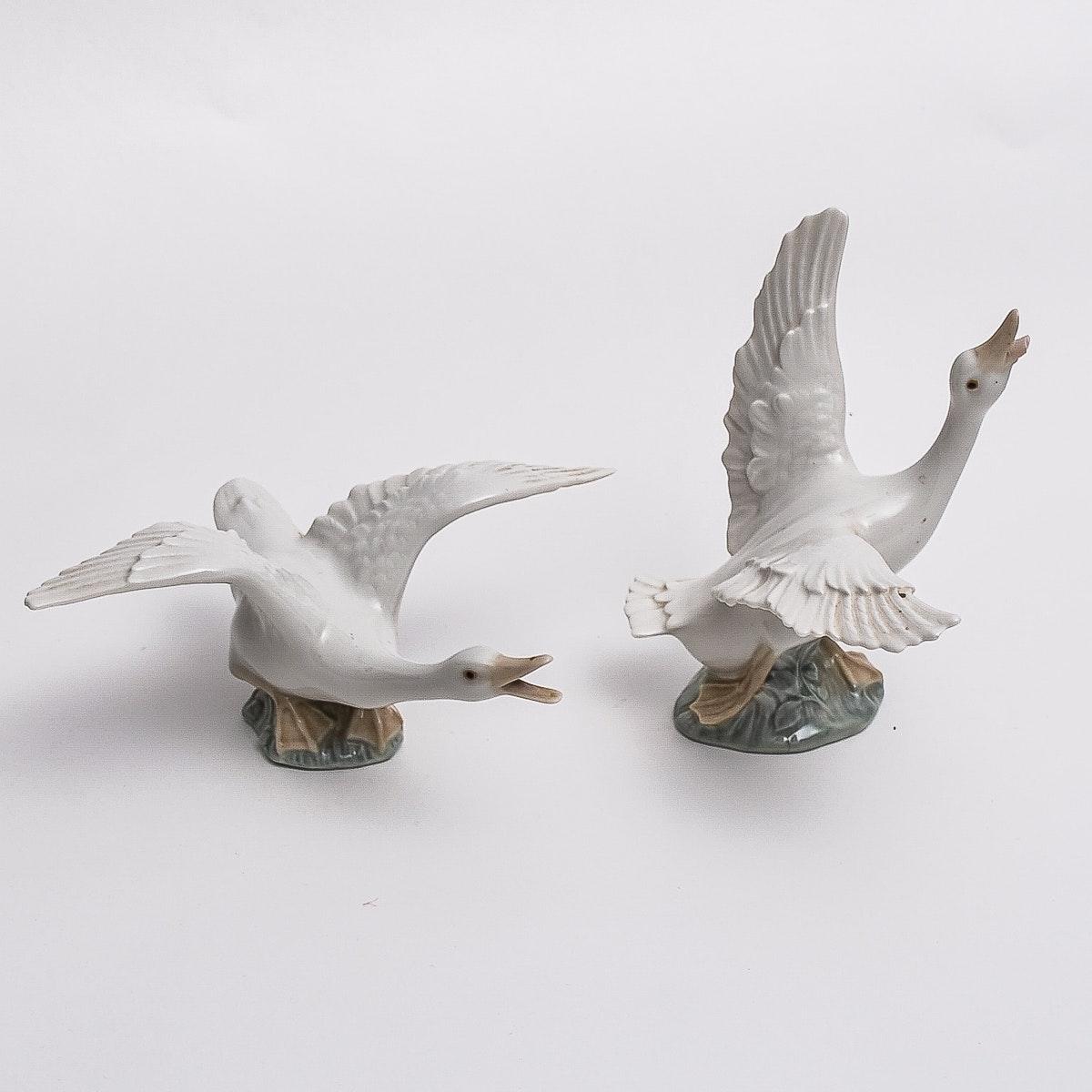 Pair of Lladro Geese Figures