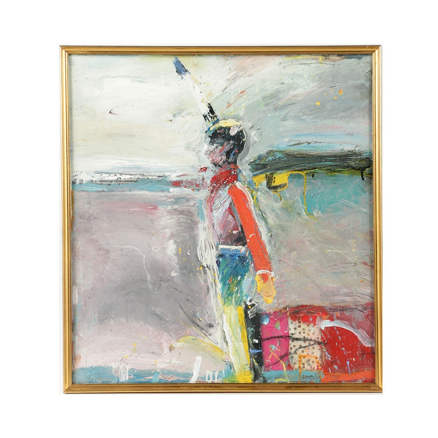 "Robert T. Baribeau Mixed Media on Canvas ""Signal Man"""