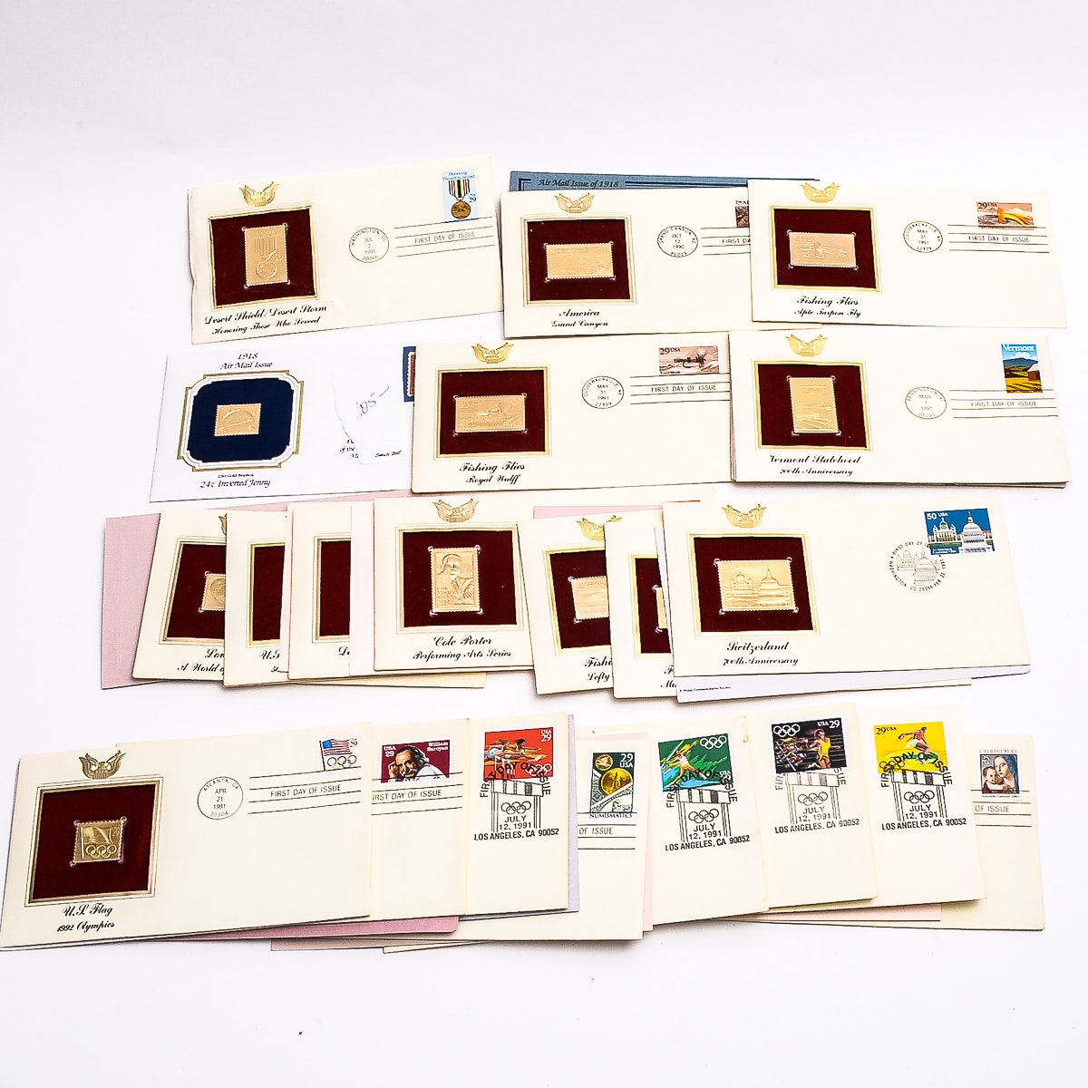 Collection of Gold Plated Replica US Postage Stamps