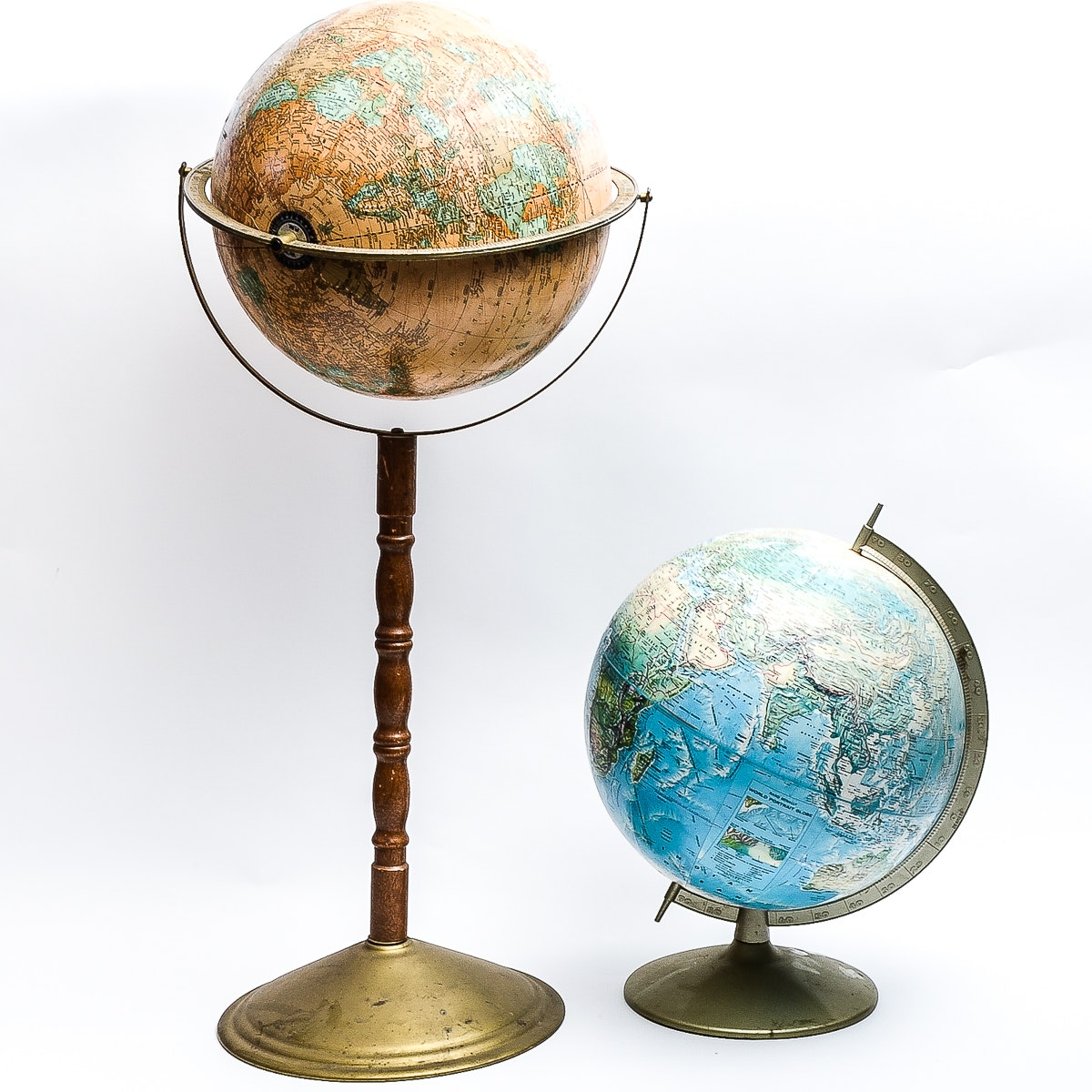 Pair of Vintage World Globes