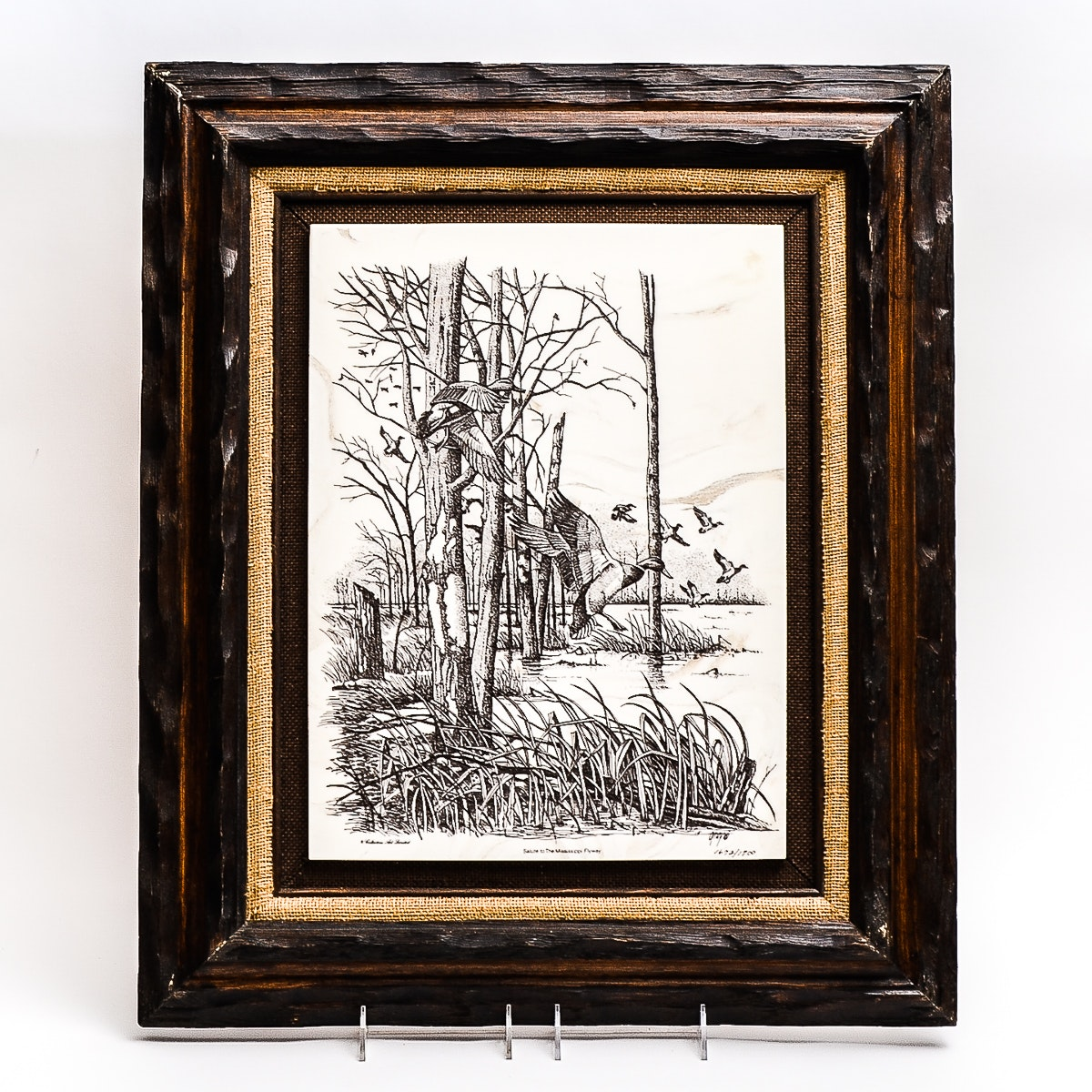 """Etched Marble Limited Edition Art """"Salute to the Mississippi Flyway"""" by David Gray"""