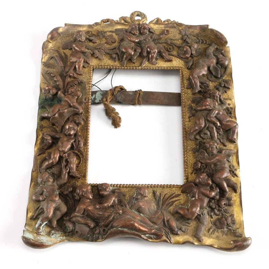 Antique Copper And Brass Picture Frame : EBTH