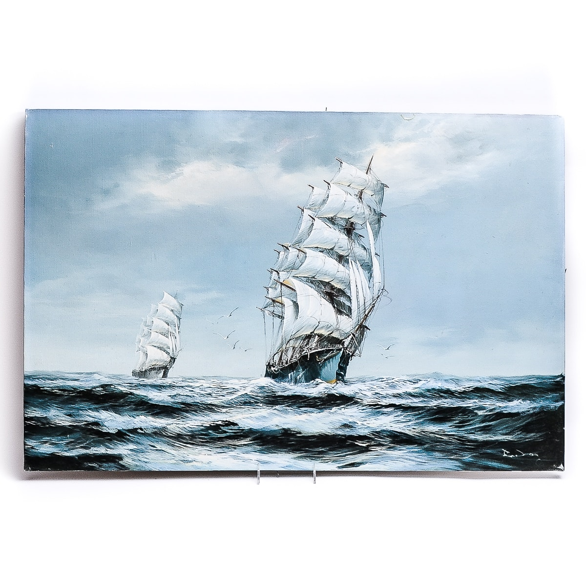 Acrylic on Stretched Canvas Painting of Ships