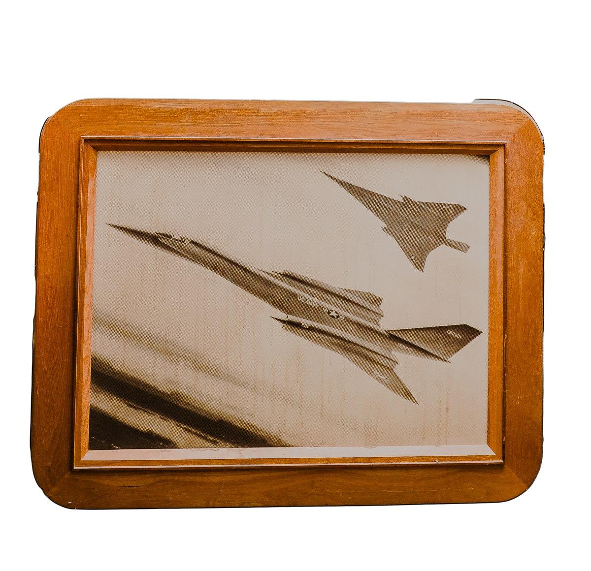 Oak Framed Lockheed Lithograph Photo