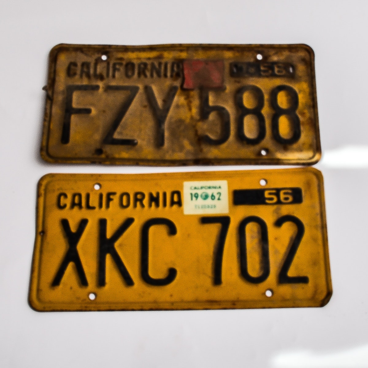 Pair of Vintage 1956 California License Plates