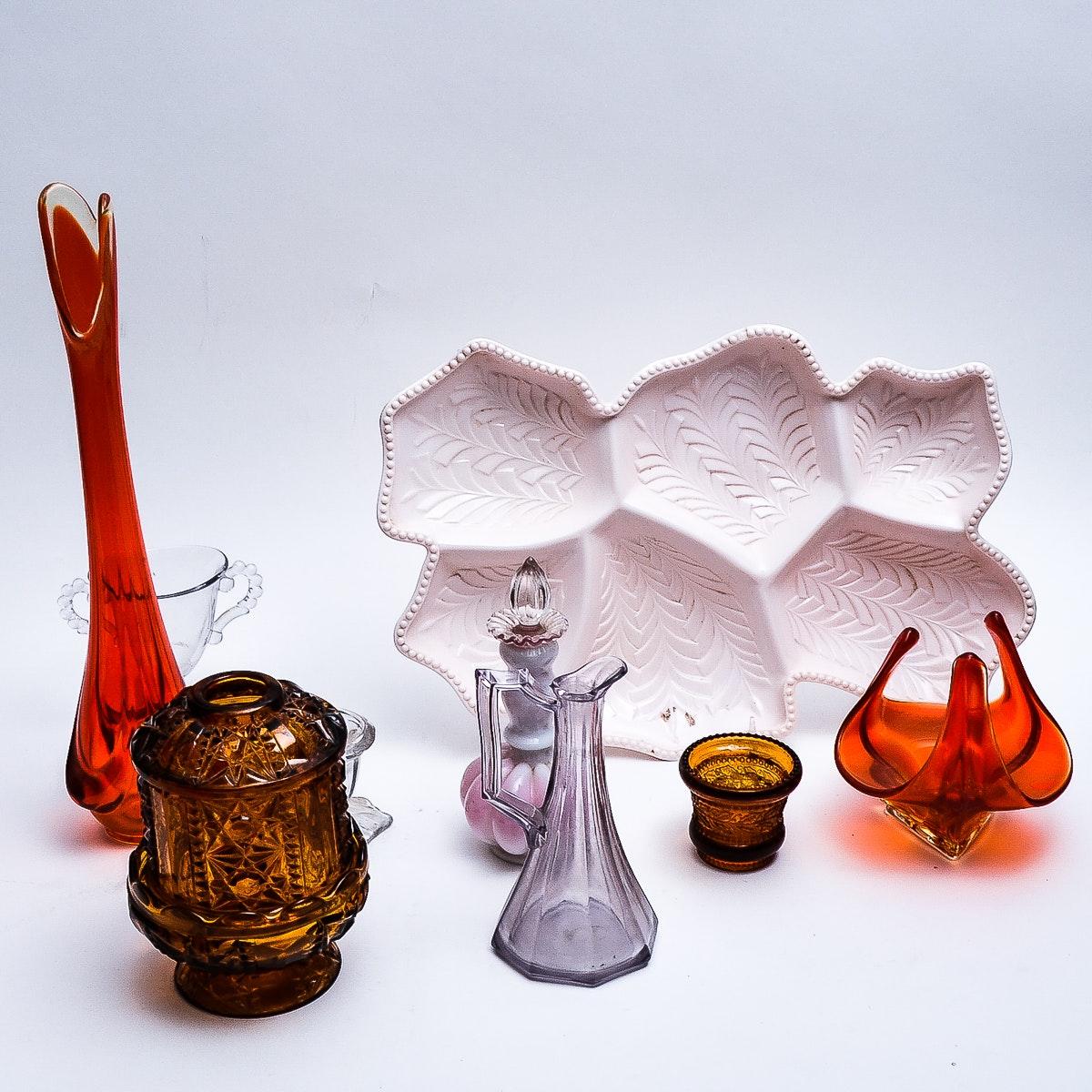 Collection of Vintage Glassware including Fenton