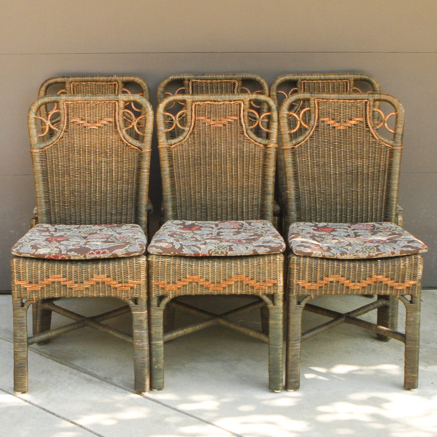 Palecek Wicker Side Chairs With Cushions Ebth