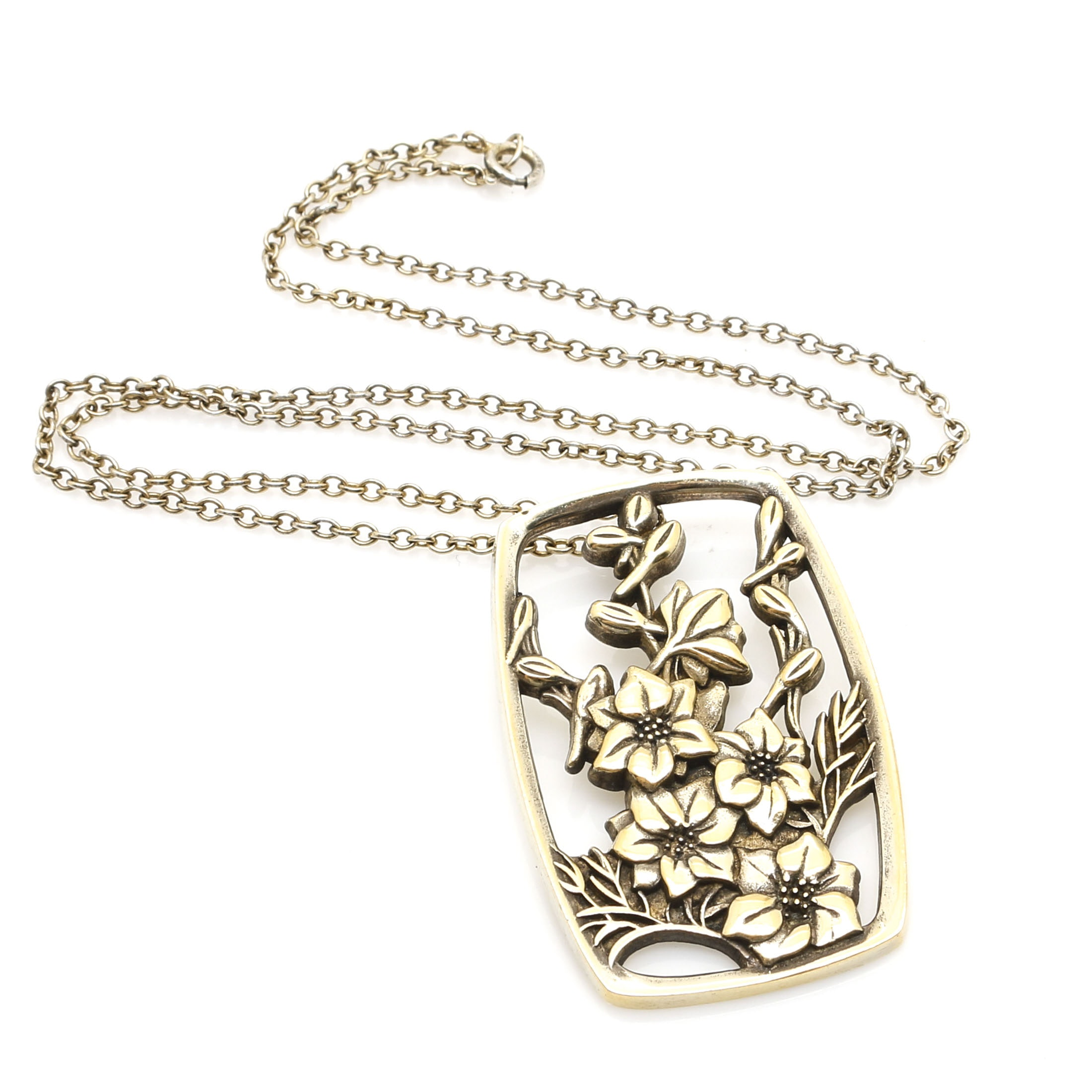 """Sterling Silver Reed & Barton """"July Larkspur"""" Gold Tone Necklace"""