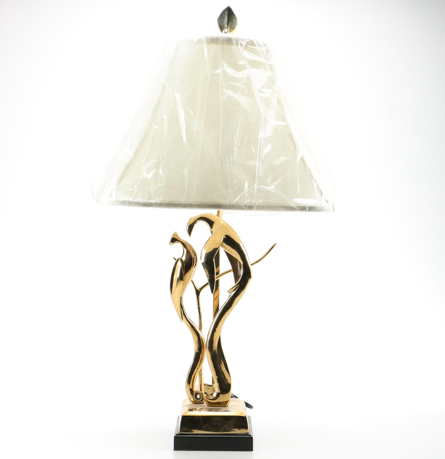 Wildwood Brass Peacock Table Lamp Ebth
