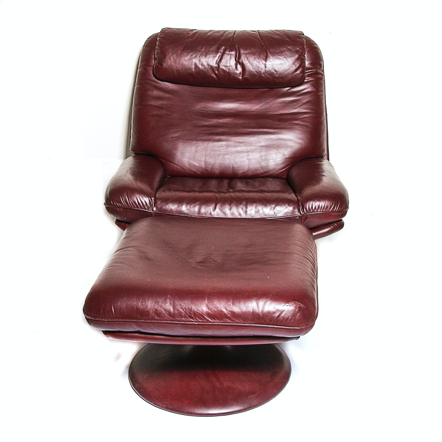 Vintage De Sede Of Switzerland Leather Swivel Chair With Ottoman ...