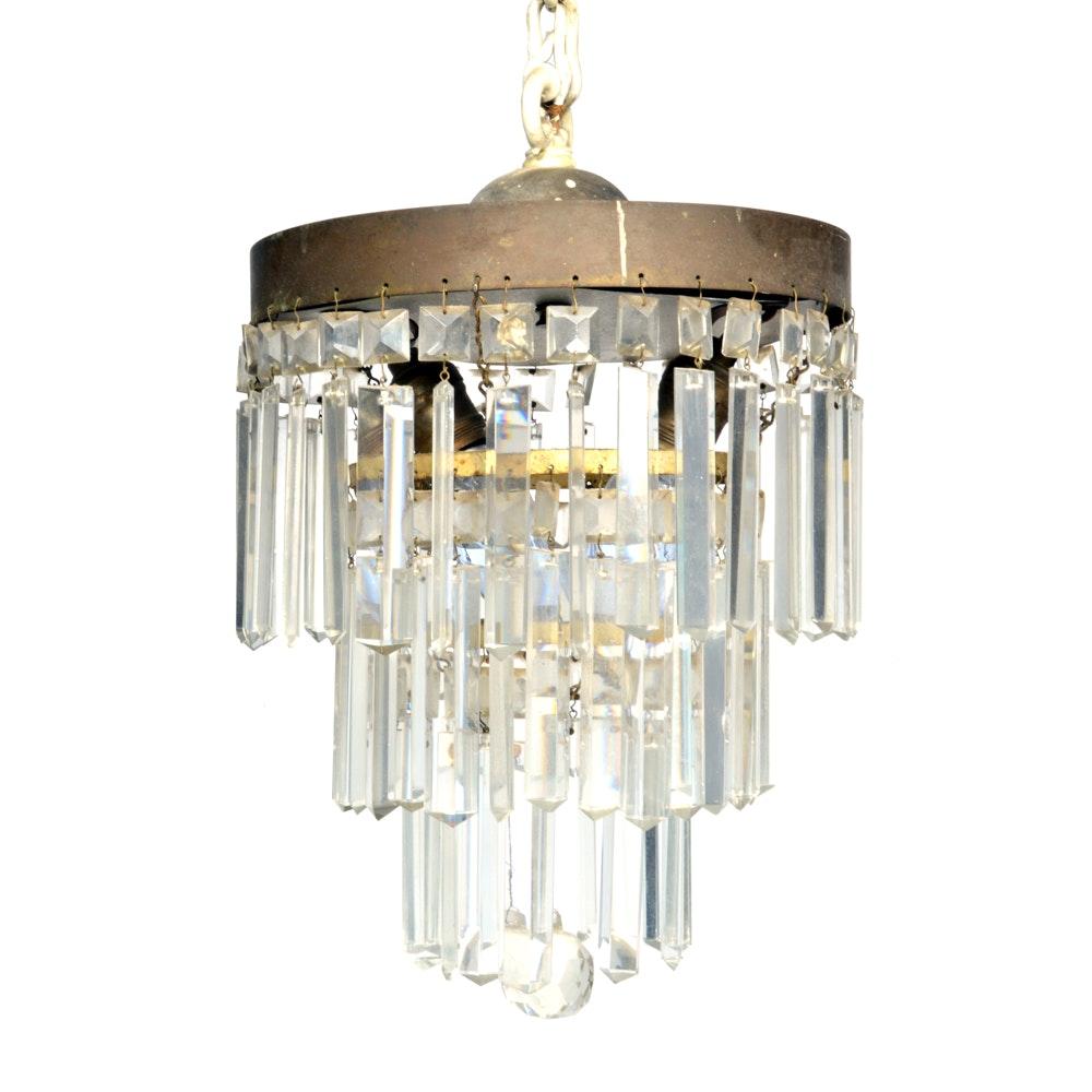 Vintage Chandelier With Crystal Prisms