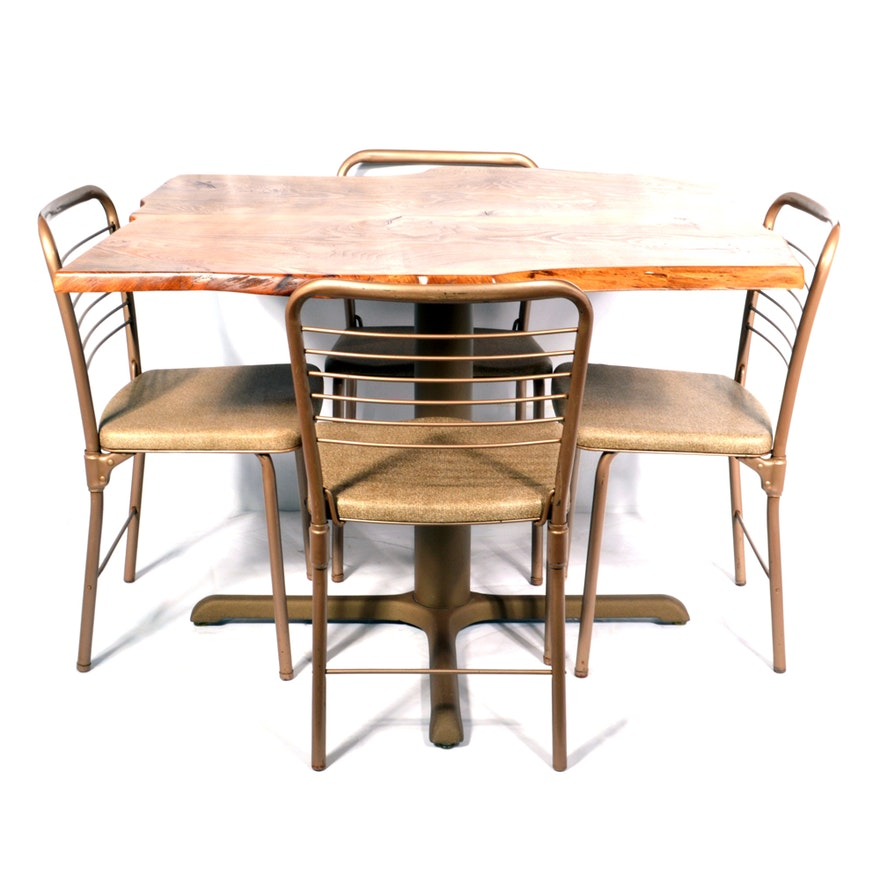 Terrific Plank Top Table With Vintage Hamilton Cosco Folding Chairs Creativecarmelina Interior Chair Design Creativecarmelinacom