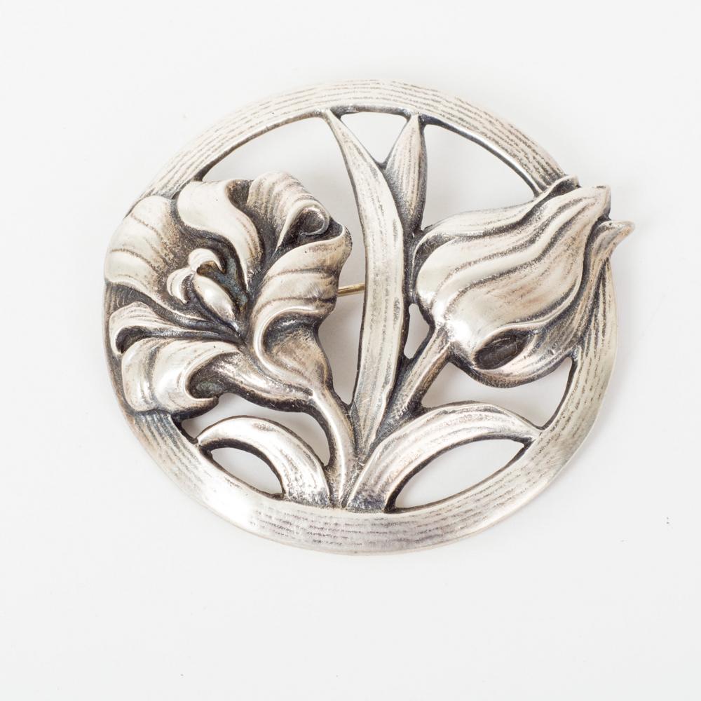 Sale Sterling Silver Art Nouveau Style Floral Bar Brooch