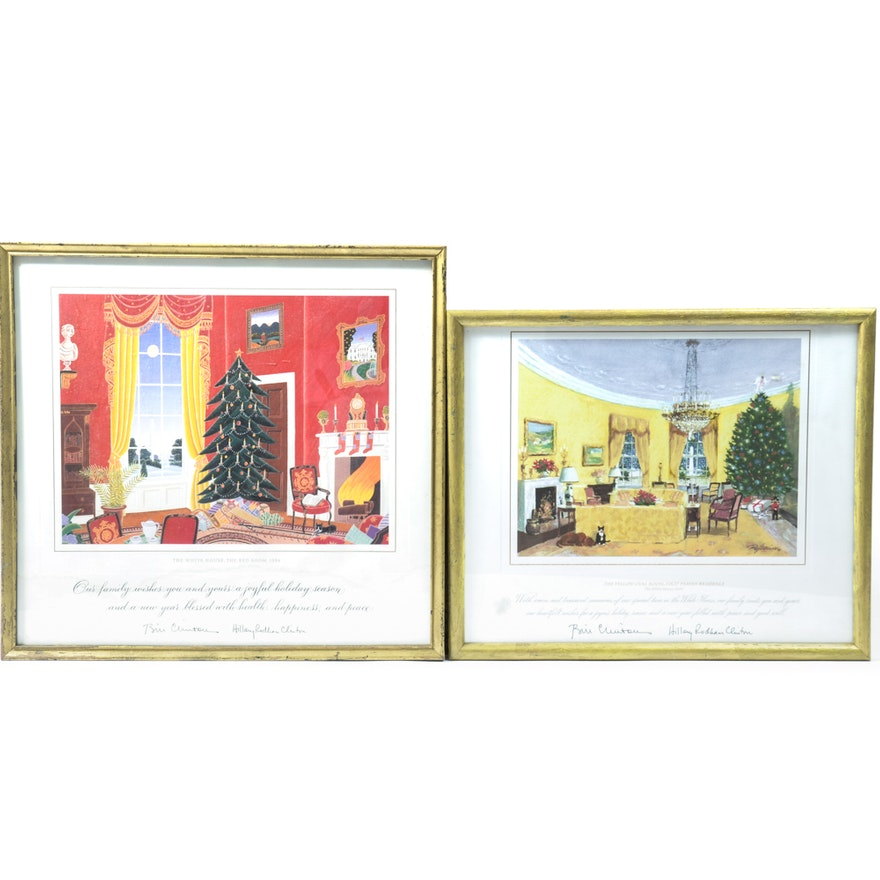 1994 and 2000 White House Christmas Cards in Frames : EBTH
