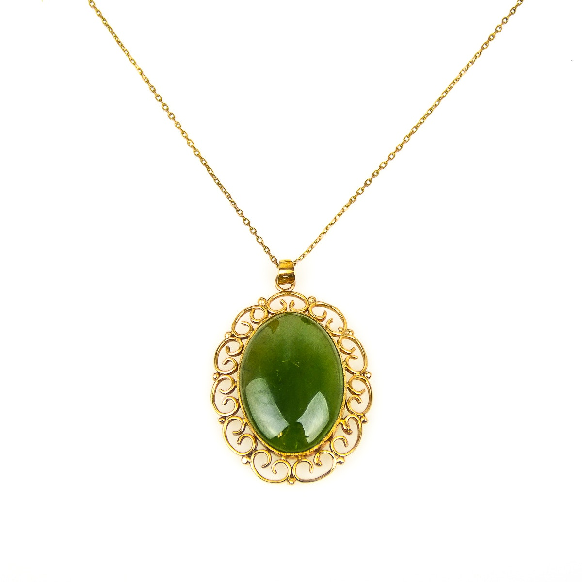 14K Yellow Gold and Nephrite Jade Pendant Necklace