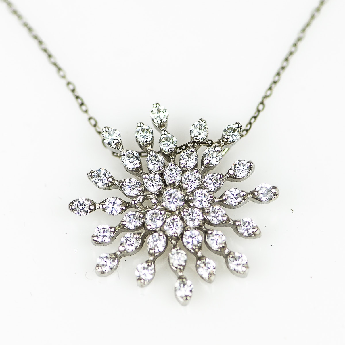 Sterling Silver and Cubic Zirconia Snowflake Pendant Necklace