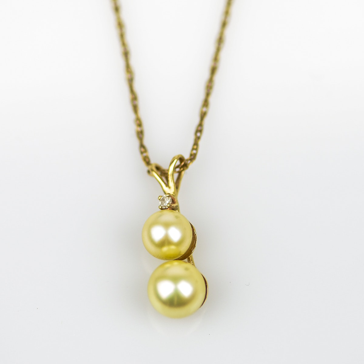 14K Gold, Pearl, and Diamond Pendant