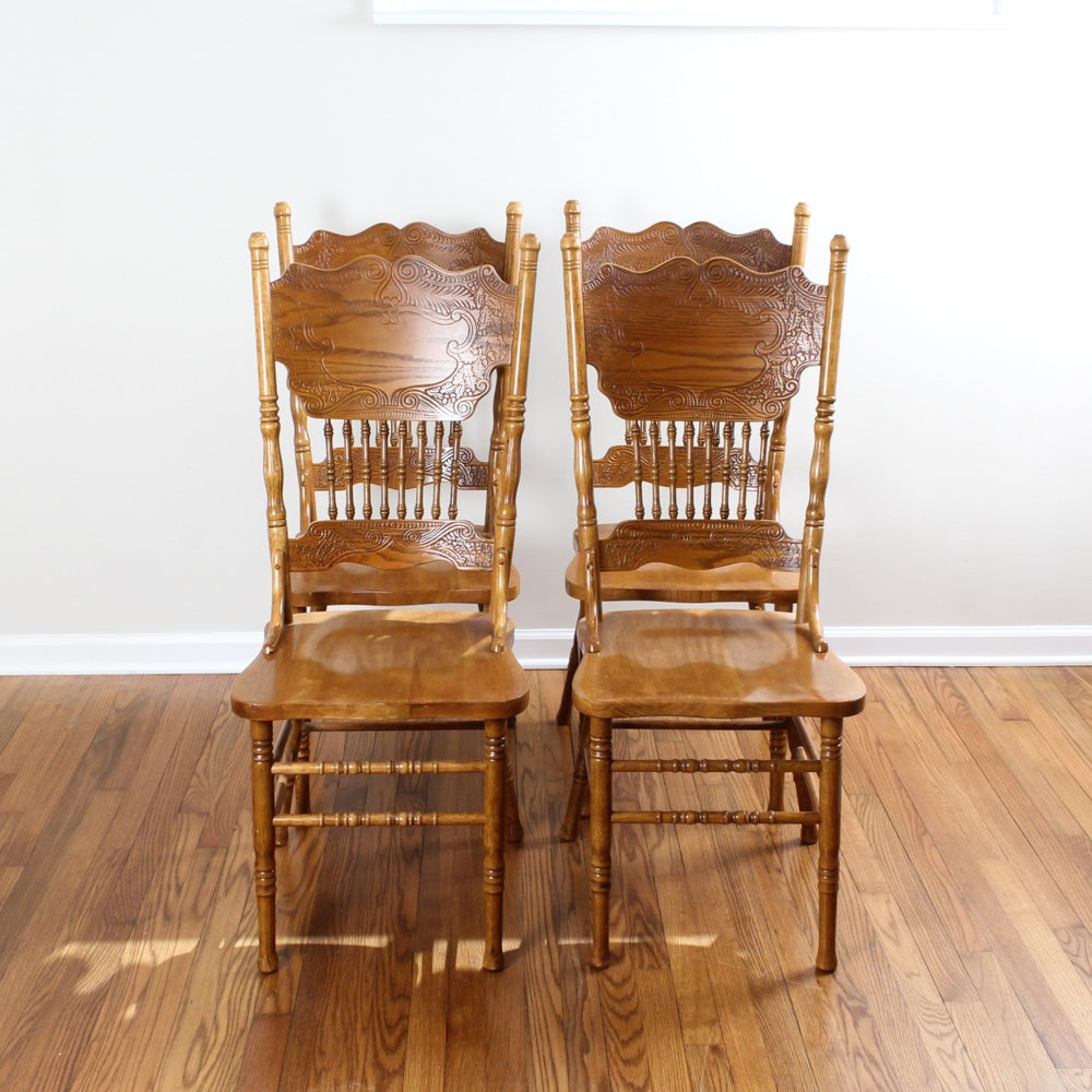 vintage oak press back dining chairs - Vintage Wooden Dining Chairs
