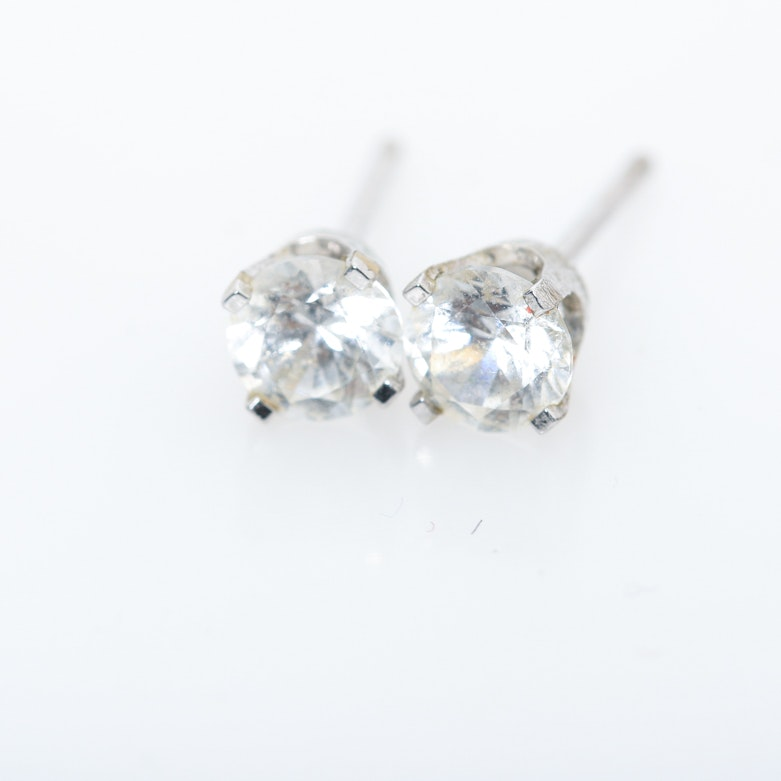 Silver Tone and Faceted Glass Stud Earrings