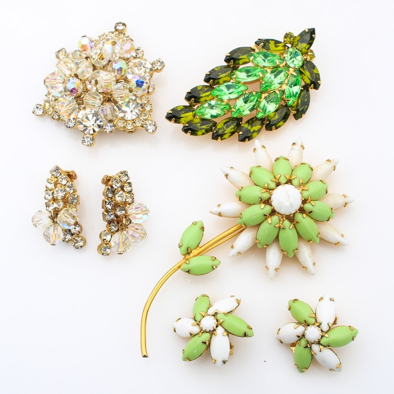 Vintage Rhinestone Costume Jewelry Including Weiss