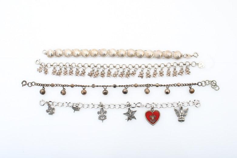 Assortment of Sterling Silver Charm Bracelets