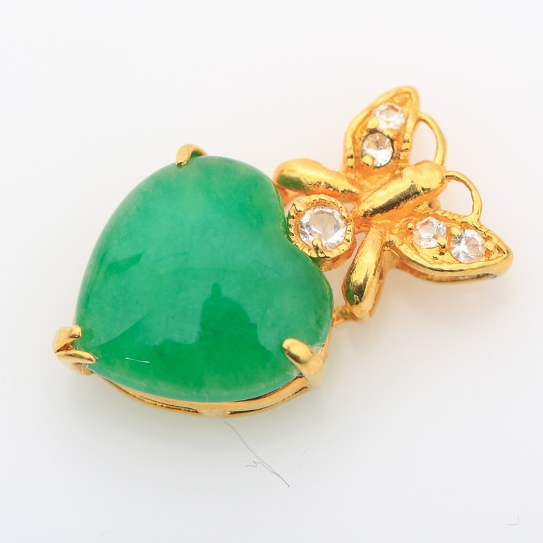 Dyed Green Quartz and Gold Plated Metal Heart Pendant