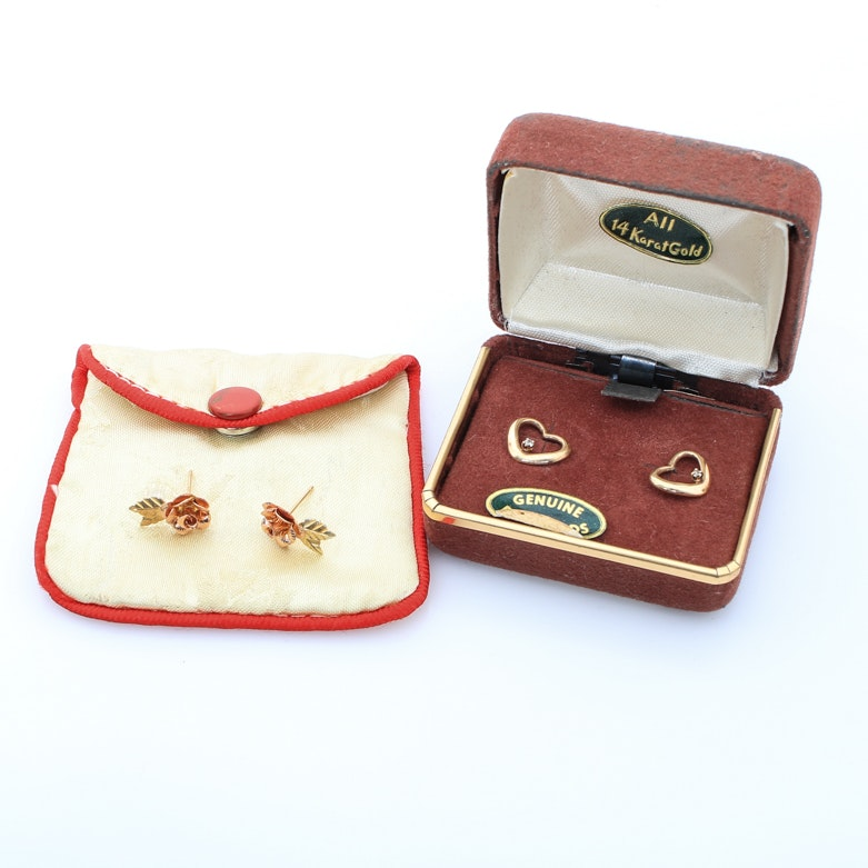 Two Pairs of 10K and 14K Gold Earrings