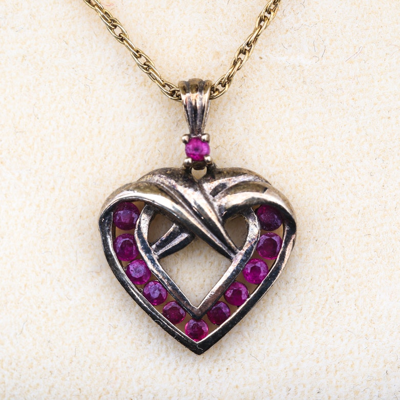 Vermeil and Synthetic Ruby Open Heart Pendant Necklace