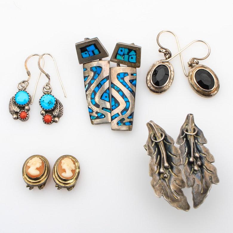 Five Pairs of Sterling Silver Earrings