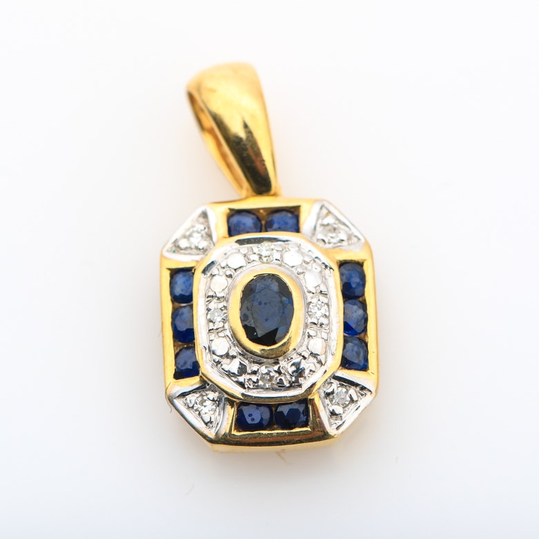14K Yellow Gold, Sapphire and Diamond Pendant